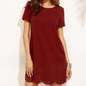 SHEIN Burgundy Laser Cut Out Scalloped Hem Dress